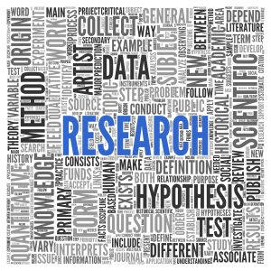 Close up Blue RESEARCH Text at the Center of Word Tag Cloud on White Background.